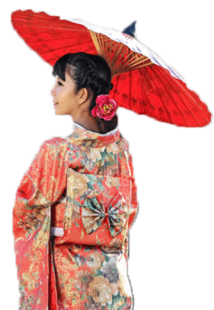 Kimono Frau in Pink mit Rotem Schirm