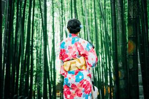 Frau im Kimono im Bambuswald