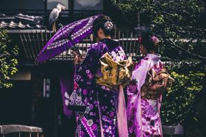 Frauen im Kimono mit Kranich auf dem Dach