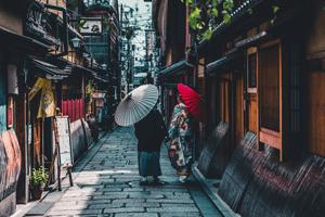 Kimono Nähen - Grau Rote Schirme