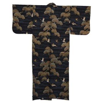 Kimono für Damen Kiefer und Kranich Schwarz