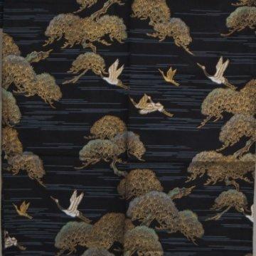 Kimono für Damen Kiefer und Kranich Schwarz Muster