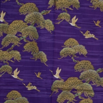 Kimono für Damen Kiefer und Kranich Lila Muster