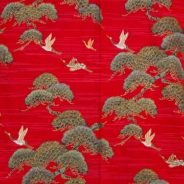 Kimono für Damen Kiefer und Kranich Rot Muster