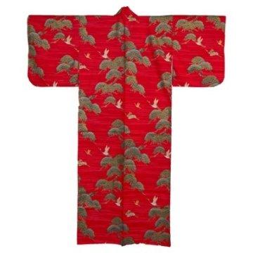 Kimono für Damen Kiefer und Kranich Rot