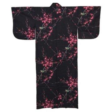 Kimono für Damen Nachtigall und Pflaume Schwarz