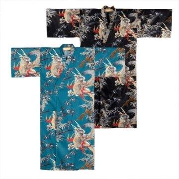 Kimono Drachen Extra Lang Petrol und schwarz