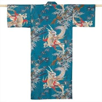 Kimono Drachen Extra Lang Petrol von hinten