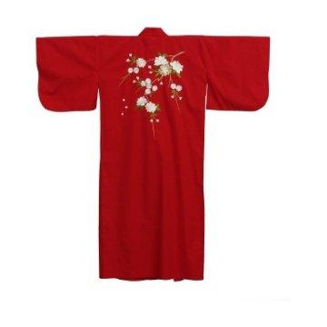 Kimono Kirschbluete Bestickt Rot
