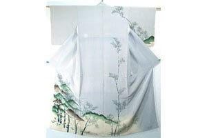Weißer huomongi Kimono mit bemalung