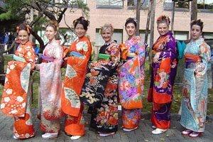 Furisode Kimono Träger in Europa