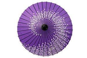 ein lilaner regenschirm mit einem spiralenden kirschblütenmuster in weiß
