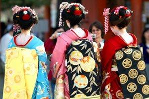 Maru Kimonogürtel getragen von 3 Geishas
