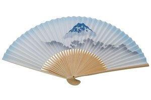 Blauer Sensu Fächer mit Mount Fuji Motiv.
