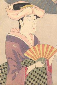 eine alte japanische zeichnung in dem jemand im kimono einen sensu fächer benutzt