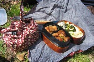 Furoshiki bei einem Piknik.
