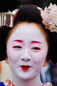Hikizuri Kimono Lächelnde Geisha
