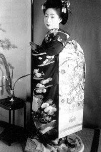 Hikizuri Kimono Geisha sehr altes Bild