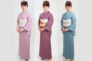 Drei Iro Muji Kimonos in Verschiedenen Farben.