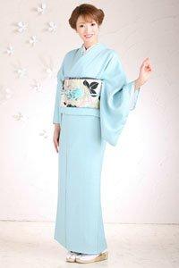 Iro Muji Kimono in Blau mit schönem Obi.