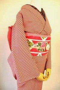 Komon Kimono mit Rot Weißem Schachmuster