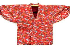 Uppawari Kimono Jacke in Orange mit Bunten Mustern.