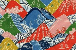 Kimono Symbol mit Bunten Bergen