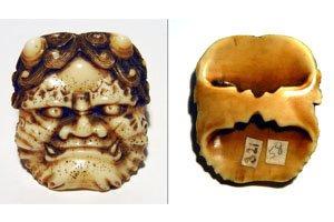 Netsukes mit Dämonen Gesicht Maske.