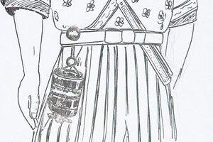 Netsukes Zeichnung - Mann mit Kimono und Obi an dem ein Netsuke hängt.