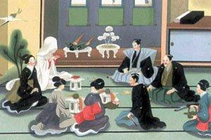 Gemälde mit vielen japanern. Es sieht sehr alt aus und die Menschen auf dem Bild tragen Kimonos und Haori.